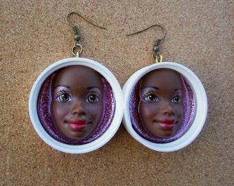 Upcycled Vintage African American Barbie earrings