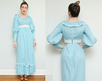 1970s Victorian Maxi Dress // 70s Blue Checkered Plaid Maxi Prairie Revival Full Skirt Long Sleeve Lace Ruffle Collar Size Small 6 7 8