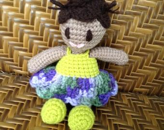 Handmade Crochet Doll  Lime Green Light Brown Body Dark Brown Hair