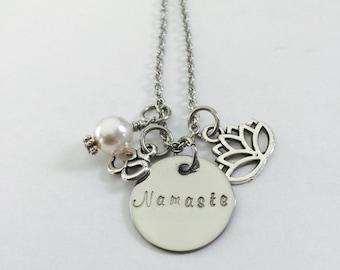 Namaste Hand Stamped Stainless Steel Necklace-Lotus Flower Charm- Om Charm-Yoga Necklace- Spiritual-Peaceful-Mindfulness-Meditation-Mind-