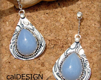 Sterling Silver, Hand-fabricated, Blue Chalcedony & Mother of Pearl Dangle Post Earrings - OOAK