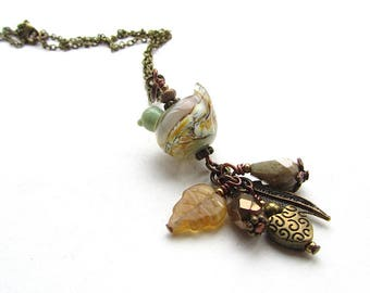 Beige Partridge In A Pear Tree Pendant, Brown and Green Bird Necklace, Charm Pendant, Brass Chain Necklace 18 Inches, Lampwork Glass Bead