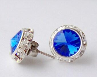 Sapphire halo rhinestone stud earrings / September birthstone / Surgical steel / Halo earrings / Swarovski / bridesmaid / hypoallergenic