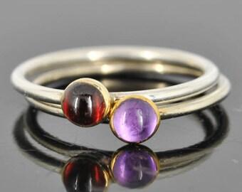 Amethyst ring, Gold bezel, february birthstone, stacking ring, gemstone ring, sterling silver ring
