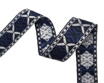 Folk Aztec Embroidered Blue Ribbon Trim for Fashion Crafts