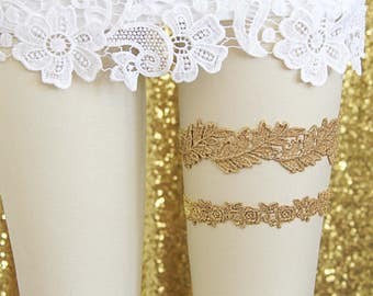 Gold Leaf Lace Wedding Garter Set, Gold Flower Lace Garter Set, Toss Garter, Gold Wedding Garter Set/ GT-23
