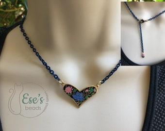 Vintage Black Enamel Heart Necklace