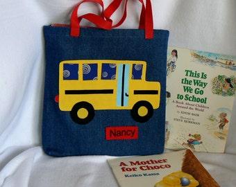 Kids Tote Bag|Personalized Tote Bag|School Bus Tote Bag|Gift for Grand Kids|Toddler Boy Tote Bag|Preschool Tote Bag|Library Book Bag