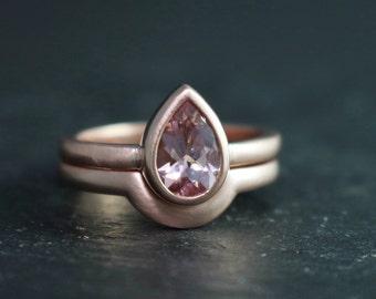 14k Rose Gold Pear Shape Morganite Ring, Solitaire Morganite, 9 by 6 Pear Shape, Alternative Engagement Ring,