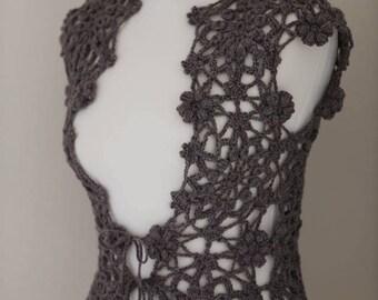 Wool vest, crochet lace vest.