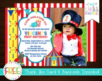 Big Top Carnival Photo Invitation: DIY Invite  Printing with FREE Reverse File and Thank You Card!