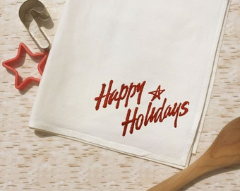 Tea Towel -  Happy Holidays  - Holiday Towel - Country Western Kitchen Decor -Embroidered - Christmas Holiday Gift - Basket Liner