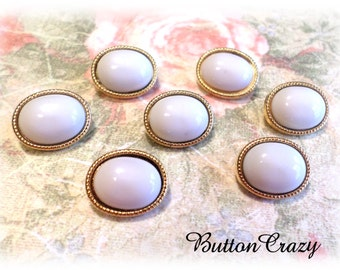 7 White and Gold Shank Buttons 9/16 Inch Buttons for Sewing Crafts Scrapbooking Cardmaking Jewelry