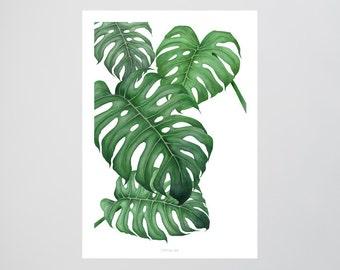Tropical No. 2 / Green, Palmleaves, Fine Art-Print, Wall-Art, Minimal Poster Art, Typography Art, Premium Poster, Kunstdruck Poster