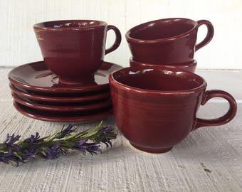 Tea Cups / Saucers Cinnabar Fiesta Post 1986 Fiesta ware Homer Laughlin Fiestaware pottery tea cups and saucers Art Deco Fiestaware dishes