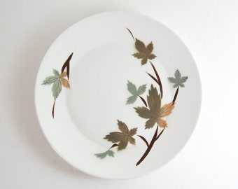 """12""""  Vintage White China Serving Platter - Primastone Ironstone Plate 4957 Japan - Autumn Leaves -  Large Serving Dish - Charger Plate"""