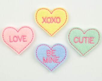 CONVERSATION HEARTS - Embroidered Felt Embellishments / Appliques - Multi Pastel  (Qnty of 4) SCF4045