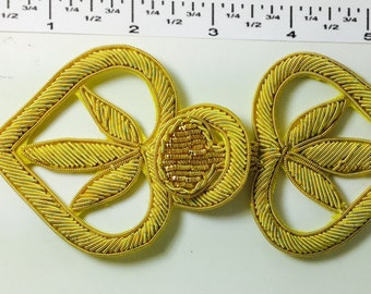 VINTAGE Handmade Frogs Closures Buttons - Gold Bullion hand embroidery - ROYAL LOOKING!