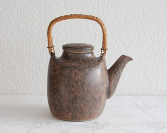 MICHAEL ANDERSEN Brown Harefur Teapot Danish Design Stoneware Bornholm Denmark Decoration Art Pottery Midcentury Modern