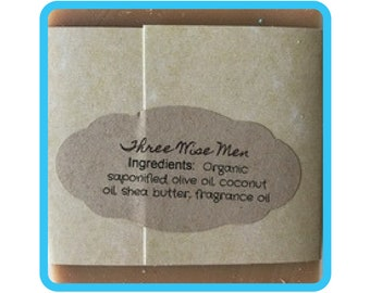 Three Wise Men Soap, Handmade Soap, All Natural Soap, Organic Saponified Olive Oil, Coconut Oil, Shea Butter, Fragrance Oil