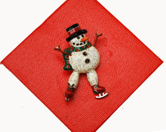 Christmas Snowman Brooch - skating  Frosty snow man  - white black enamel -  Christmas in July -  Holiday PIn