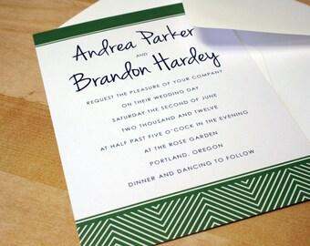 NEW SAMPLE: Herringbone Wedding Invitation, Customizable Colors