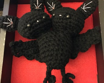 Crocheted Two Headed Bat
