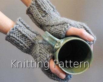 Knitting Pattern, pattern for fingerless knit gloves, mitten pattern, fingerless knit gloves, modern knitting pattern