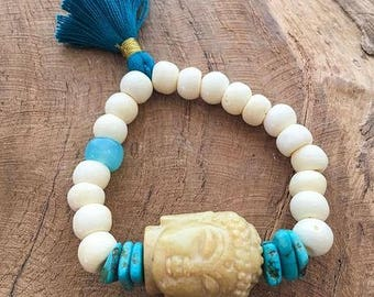 Jade Buddha Bracelet | Raw Turquoise | Aqua Chalcedony | Bone | Tassel | Stack Bracelet | Bohemian | Gemstone