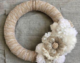 50% OFF Morning White Pom Pom Wreath