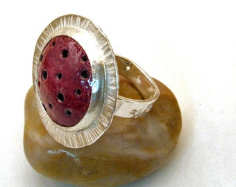 JETSON RING Crimson Red - Handmade Copper Enamel and Sterling Silver One of a Kind Artisan Jewelry Avant Garde Cocktail Ring - Size 9 3/4