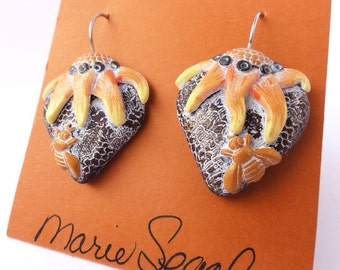 Summerheart drop earrings made by Marie Segal