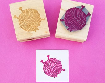 Wool and Needles Rubber Stamp - Knitting Stamp - Knit Stamper - Gift for Knitter - Knitting Supplies - Knitting Needles - Handmade Craft