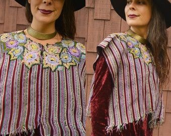 Vintage GUATEMALAN Huipil Poncho Blouse MAYA Hand Sewn Flower Embroidery