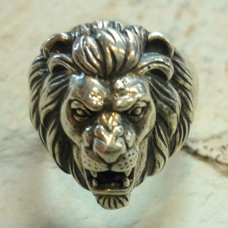 men head locomotive stainless pby steel style lion domineering itm rings puck