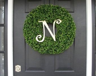 SPRING WREATH SALE Monogram Initial Wreath, Monogram Wreaths, Monogram Boxwood Wreath, Personalized Decor, Wedding Decor, Spring Decor, Mono