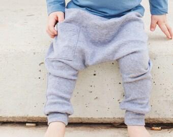 Baby Boy Clothes - Baby Leggings Organic Baby Clothes, Newborn Boy Pants, Baby Harem Pants, Baby Leggings - Denim