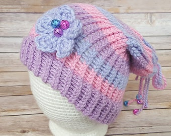 Pink Purple Blue Fairy Hat, Fairy Hat, Knitted Fairy Hat, Knit Fairy Hat, Fairy Slouchy, Fairy Lover Hat, Cosplay Fairy Hat, Elf Hat