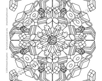 Licorice Allsorts Candy Burst Mandala - Adult coloring page printable download from Candy Kaleidoscope Artwork Anywhere ~hand drawn candy~