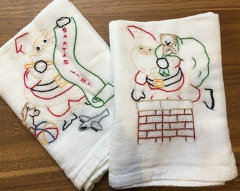 Up on the Rooftop Hand Embroidered Dish Towels