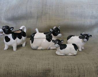 Cow Sugar, Creamer and Salt & Pepper Shaker