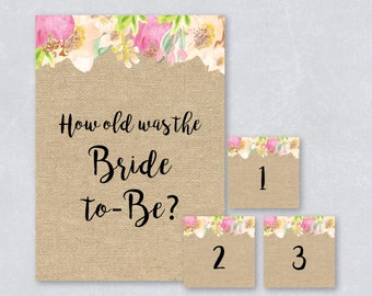 How old was the bride to be / Bridal shower game / Floral watercolor / Burlap / Tropical summer / DIY Printable / INSTANT DOWNLOAD