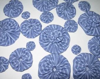 Fabric YoYos, Stripped Denim, Four Sizes, Crafting, Appliques, Embellishments