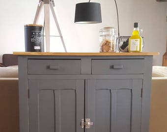 SOLD - Buffet Paris grey, white and solid wood