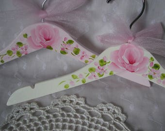 Kids Clothes Hangers Hand Painted Pink Roses Child Girls White Hanger