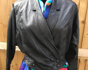 Vintage real soft leather batwing 1980s jacket blouson retro