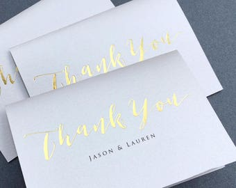 Gold Foil Thank You Note Card Set of 10 /  Calligraphy Real Gold Foil Thank You Cards / Folded Shimmer Note Cards - Set of 10 Cards - T389
