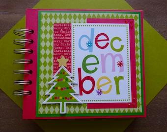 CLEARANCE - Christmas Scrapbook Album, Pre-made Christmas Scrapbook, Christmas Mini Album