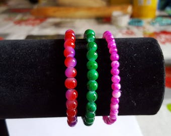 3 bracelets elastic made with glass beads