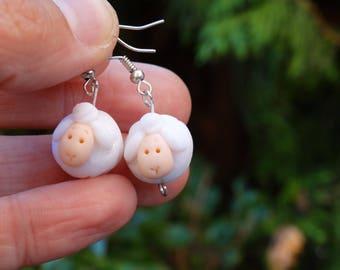 Sheep Earrings,Animal Earrings,Aries Earrings,Funny Earrings,Polymer clay earrings,Kids earrings